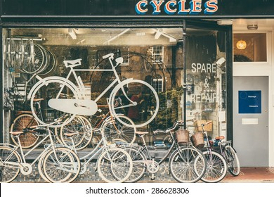 Cycles retailer and repair shop with bikes on display