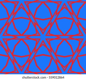 Cyclic cubes. Raster copy illustration depicting three-dimensional model of a cube. Seamless texture. blue, red color. For the interior design, wallpaper, printing, textile industry.
