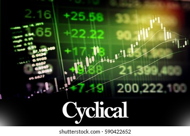 Cyclical - Abstract digital information to represent Business&Financial as concept. The word Cyclical is a part of stock market vocabulary in stock photo