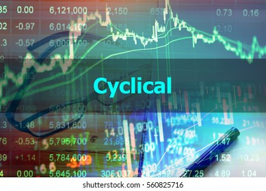 Cyclical  - Abstract hand writing word to represent the meaning of financial word as concept. The word Cyclical is a part of Investment and Wealth management vocabulary in stock photo.