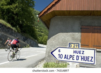 Cycling at Alpe D Huez. Tour de                French alps