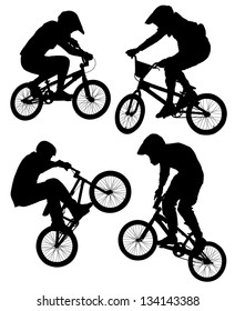 Cycling BMX Silhouette on white background. Raster version with clipping paths