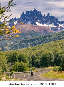 Cycling carretera austral with view on cerro castillo