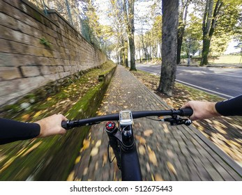 Cycling in the city. Outdoor sports a city park in autumn or winter.