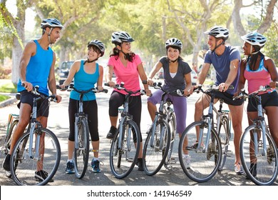 Cycling Club Meeting On Suburban Street