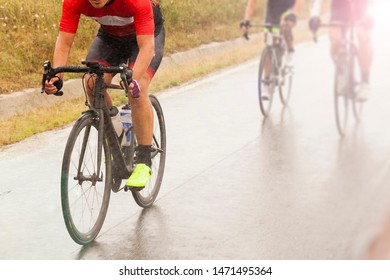 Cycling competition, cyclist athletes riding a race at high speed