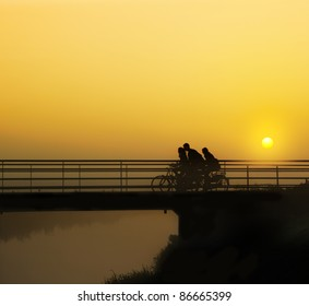Cycling in the early morning