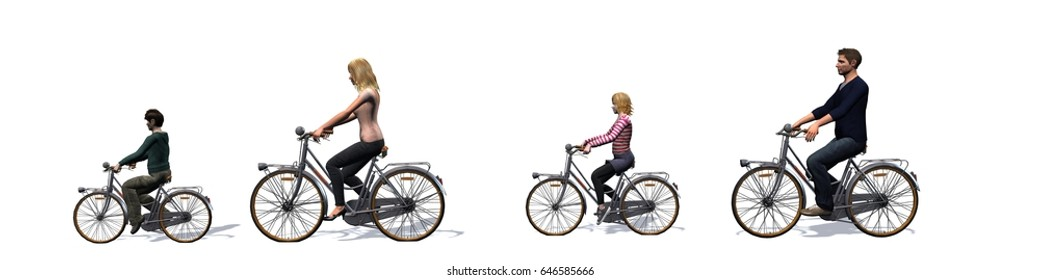 Cycling family, cyclist, isolated on white background - 3D illustration