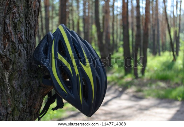 Cycling helmet in the forest