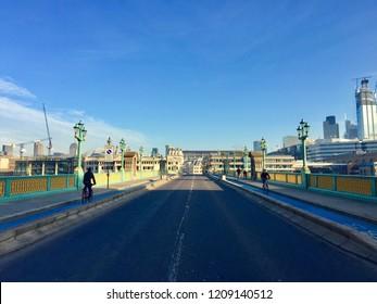 Cycling lanes on Southwark Bridge, London