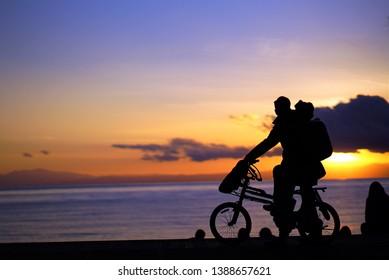 cycling with lover at sea side