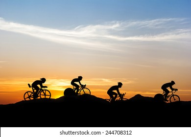 Cycling at mountain on twilight time