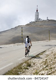 Cycling on Mont Ventoux, road to summit. Provence. France.