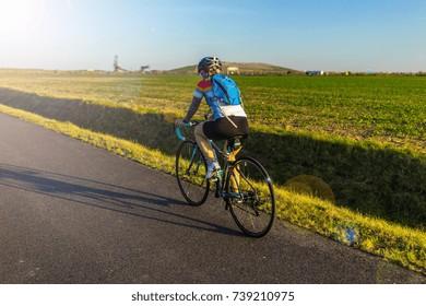 Cycling on a road bike