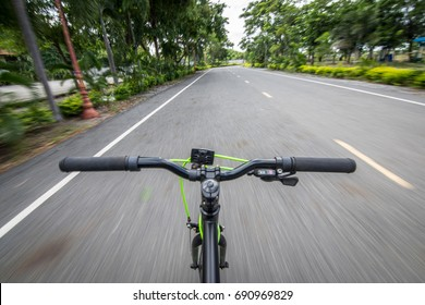 Cycling on the street,motion image of biking