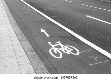 Cycling path in the city - Leeds, UK. Bike lane. Black and white retro style.