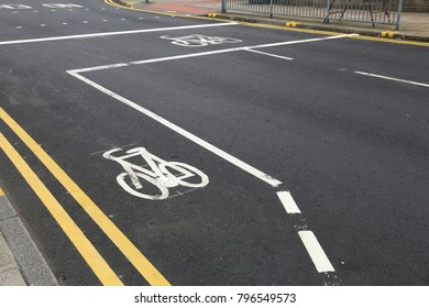 Cycling path in the city - Leeds, UK. Bike lane.