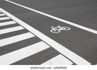 Cycling path in the city in Nagoya, Japan. Bike lane.