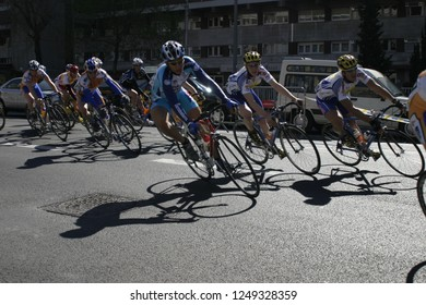 Cycling race in Barcelona, Spain. October 2018