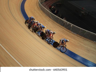 cycling races on track tilt shot