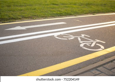 cycling road with a bycicle sign and an arrow