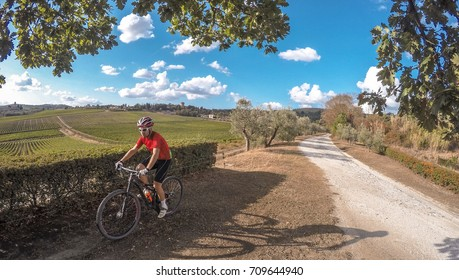 Cycling in Tuscany countryside. Vineyard on background