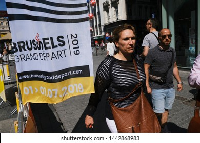 Cyclism fans take a tour in Tour de France 2019 fan park in central Brussels, Belgium on July 4, 2019.