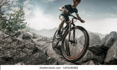 Cyclist in action on a beautiful location