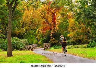 Cyclist in beautiful autumn scenery