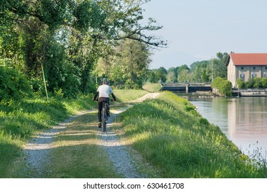 Cyclist in the country road italy