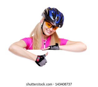 cyclist girl showing thumbs up over the blank closeup white background
