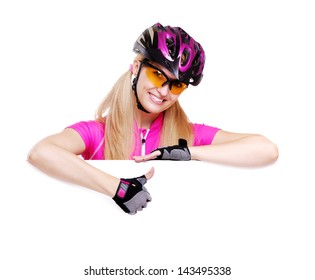 cyclist girl showing thumbs up over the blank white background
