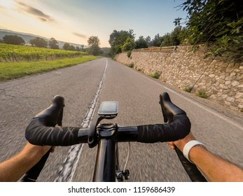 Cyclist Going down on. Cycling in Tuscany countryside. POV Original point of view
