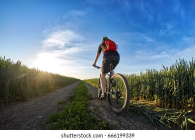 Cyclist in the helmet riding mountain bicyclist on outdoor trail against sunrise.