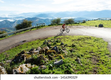 Cyclist man seen from above in Angliru, Asturias 11 of October 2015