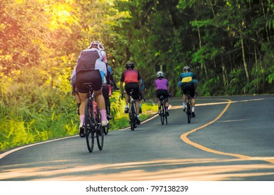 cyclist mountain biking mount up on the road.
