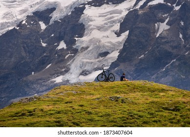 Cyclist in the Mountain in Switzerland