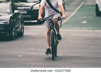 Cyclist on city street