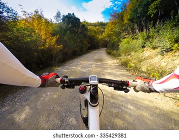 Cyclist on dirty road in a forest. Colors of autumn. POV Original Point of View
