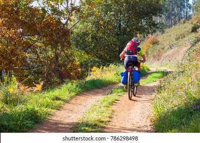 Cyclist on the forest path in autumn. Asturias, Spain