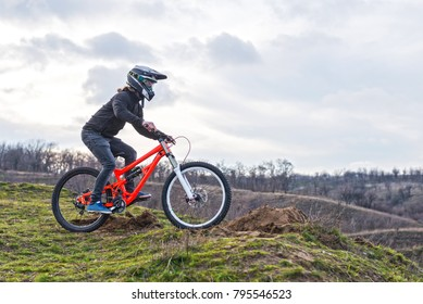Cyclist on the mountain bike, free space for your text. Extreme sport, mtb.