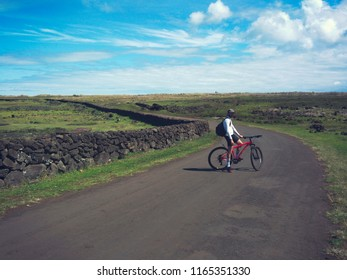 cyclist on the road in Peru contry, South America