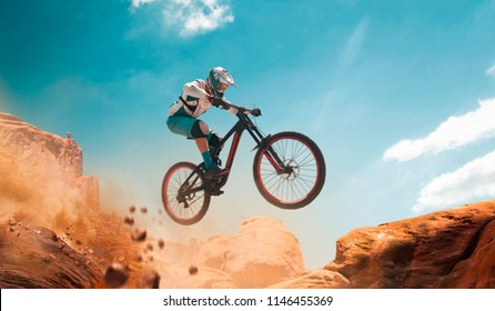 Cyclist riding a bicycle. Downhill.