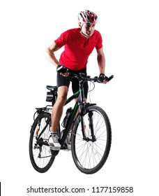 Cyclist riding his mountain bicycle in a white studio
