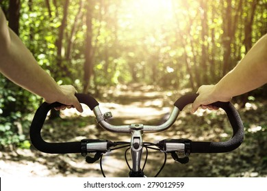 Cyclist riding on his bike at sunset in forest- first person view