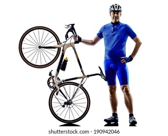 cyclist in silhouettes on white background