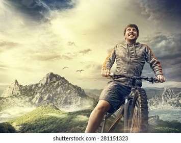 Cyclist. Sport tourism by bike in the mountains.