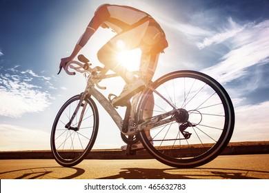 Cyclist in the sun. Race winner
