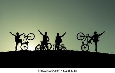 cyclist team in nature