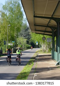 Cyclist are traveling on the Nordbahntrasse a former railway line in Wuppert NRW Germany in springtime 2019.